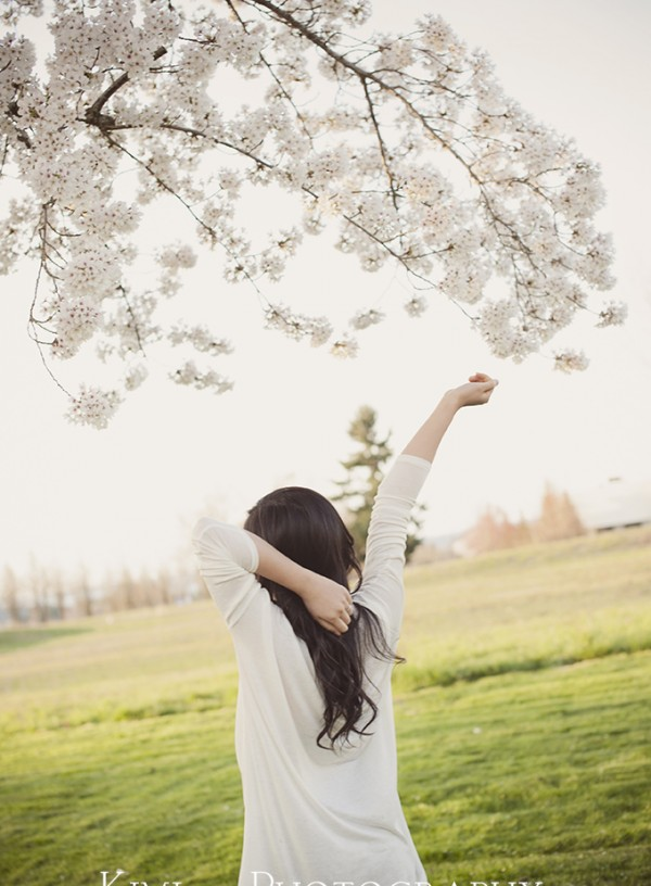 Cherry blossom senior photography